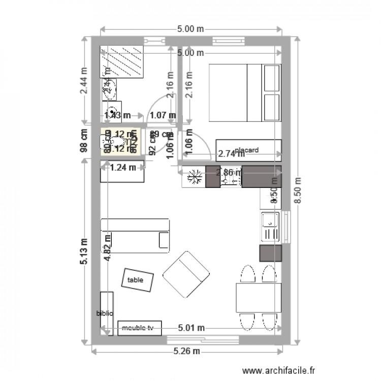 Maison 40m2 ardeche plan 1 pi ce 1 m2 dessin par patardeche for Salon 40m2 plan