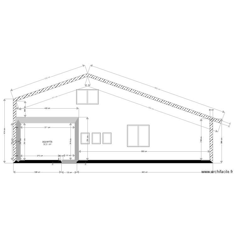 Facade Cote Entree Plan 2 Pieces 9 M2 Dessine Par Niche