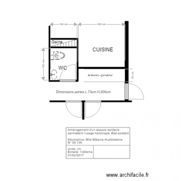 wc handicap plan 2 pi ces 2 m2 dessin par melview. Black Bedroom Furniture Sets. Home Design Ideas