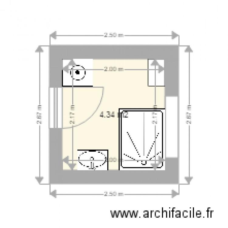 Salle de bain plan 1 pi ce 4 m2 dessin par pirous for Salle de bain 4 m2