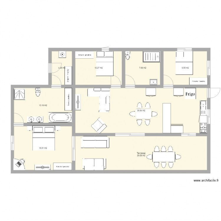 maison plan 8 pi ces 130 m2 dessin par t. Black Bedroom Furniture Sets. Home Design Ideas
