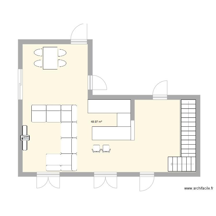 Salle A Manger Salon Cuisine Plan 1 Piece 49 M2 Dessine Par Cindy04