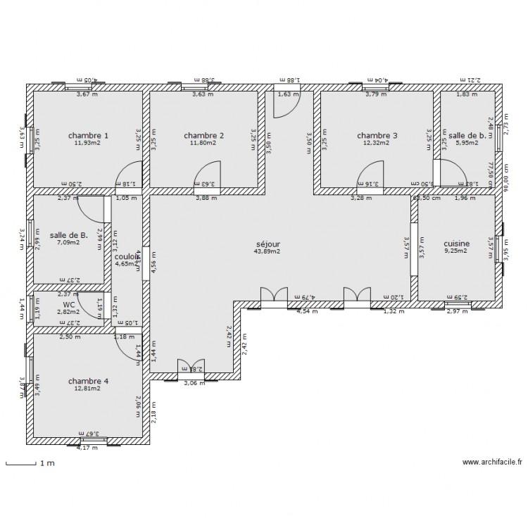 Exceptionnel maison plein pied 110m2 - Plan 10 pièces 122 m2 dessiné par sarko28 UP91