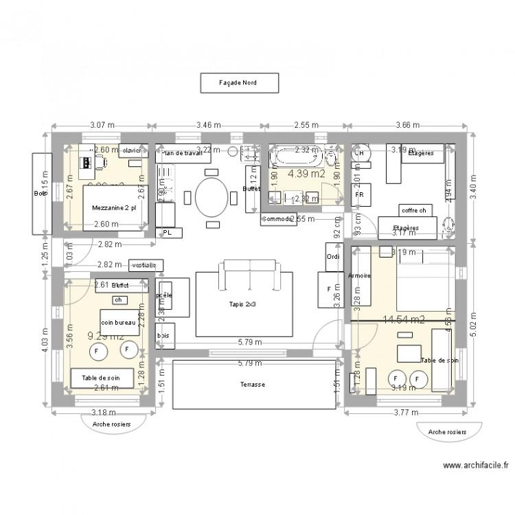 Plan maison jocelyne avec terrasse sud plan 4 pi ces 35 for Plan maison sud