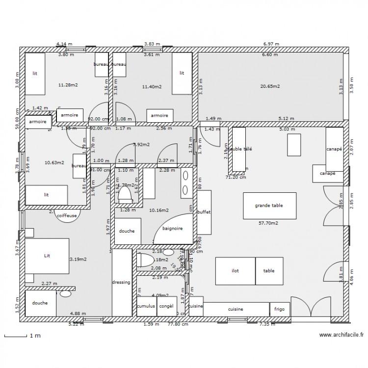 maison carr e 2 plan 11 pi ces 161 m2 dessin par chouchous. Black Bedroom Furniture Sets. Home Design Ideas