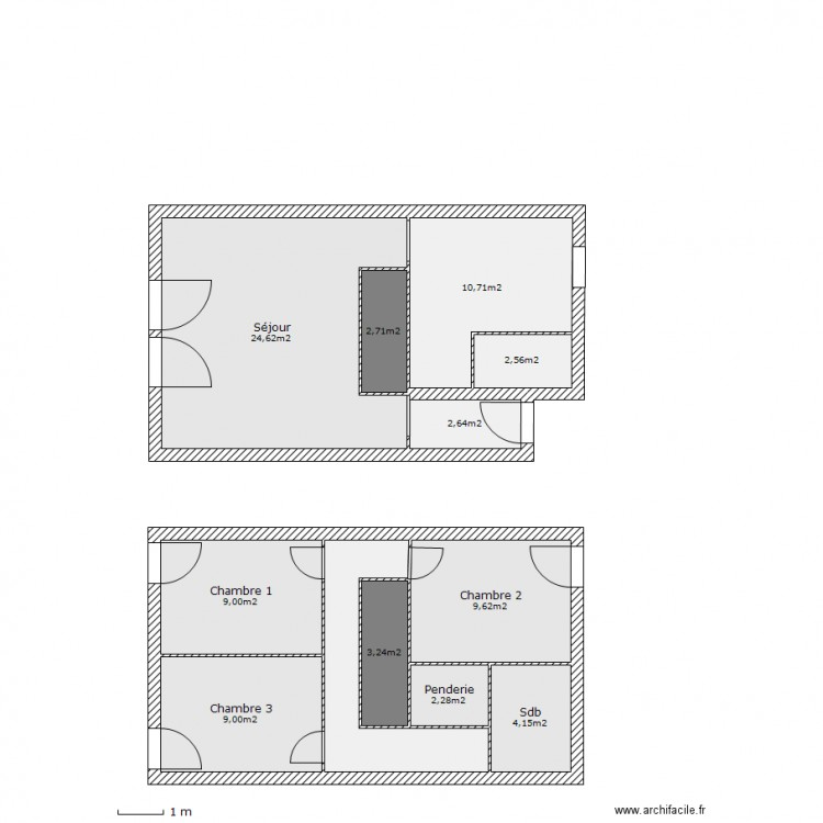 Maison t4 duplex plan 12 pi ces 88 m2 dessin par pixel for Plan maison t4