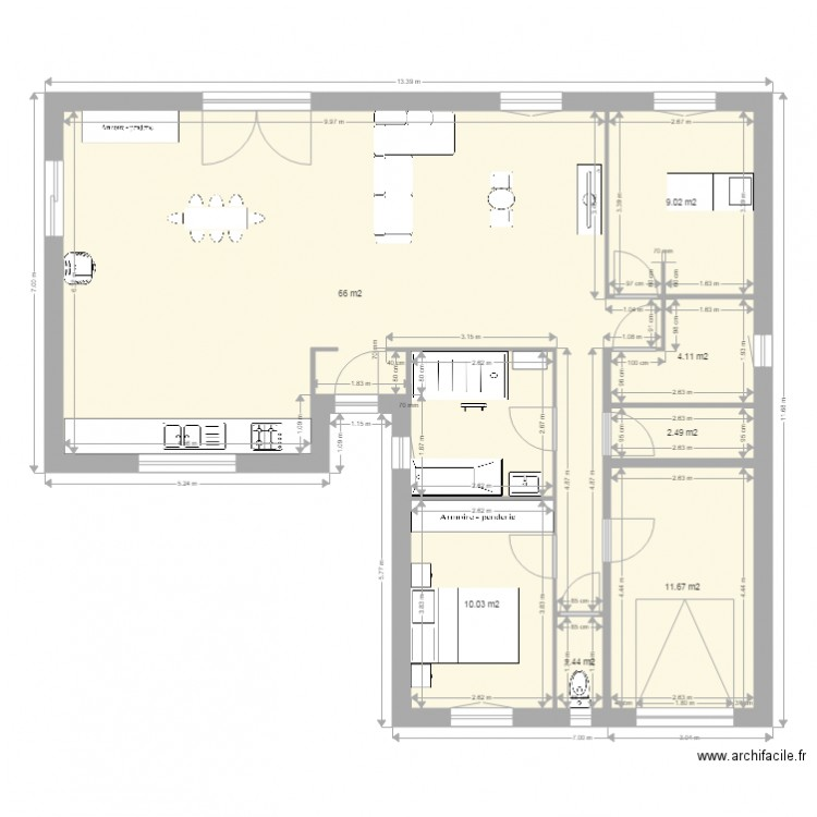 plan maison 2 plan 7 pi ces 105 m2 dessin par ginacat. Black Bedroom Furniture Sets. Home Design Ideas