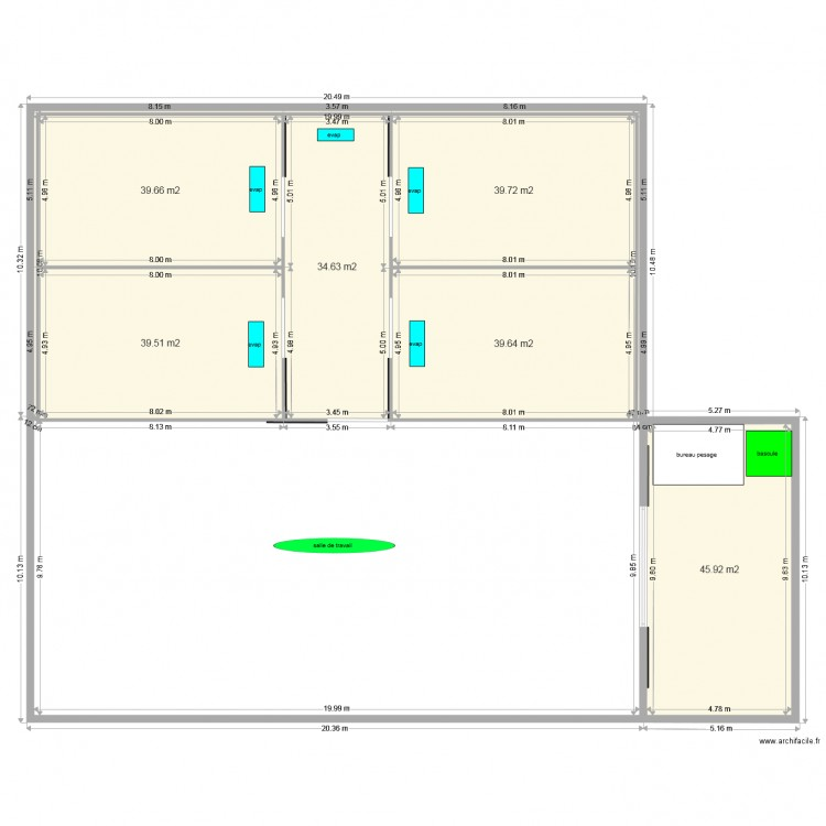entrepot frigorifique plan 7 pi ces 241 m2 dessin par safertabi1980. Black Bedroom Furniture Sets. Home Design Ideas