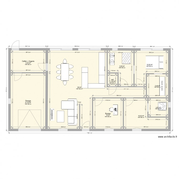 maison plain pied 130 m2 plan 10 pi ces 130 m2 dessin par bambouclpjd2. Black Bedroom Furniture Sets. Home Design Ideas
