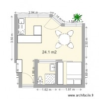 Plan maison et appartement de 21 25 m2 for Plan amenagement studio 25m2