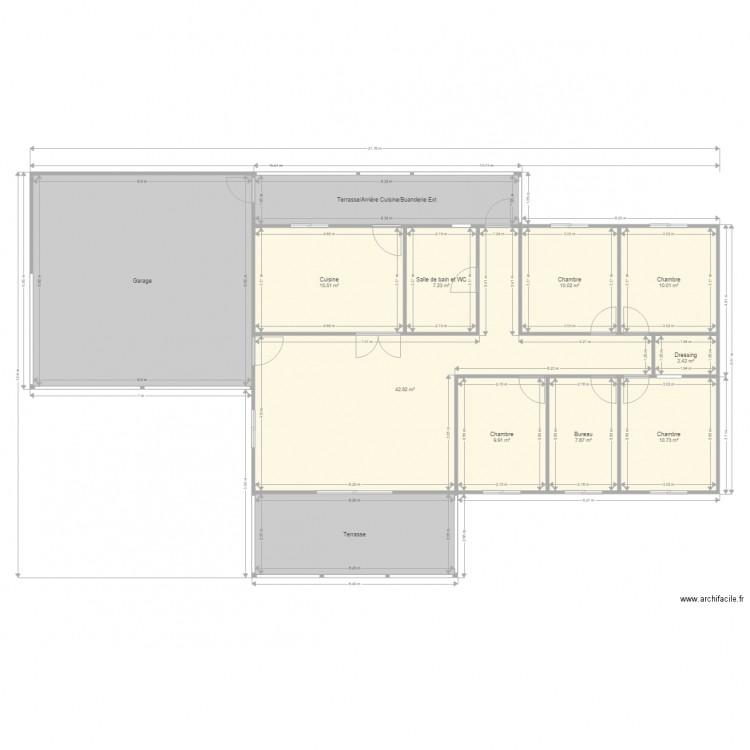 F5 cuisine ferm e garage toit 3 pans plan 14 pi ces 191 for Plan de maison f5