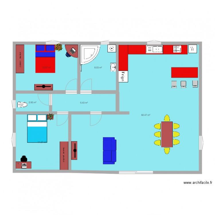 Plan de yvan et lorenzo plan 6 pi ces 107 m2 dessin par for Meuble tv yvan