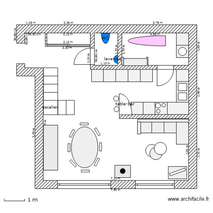 RDC studio avec mezzanine - Plan dessiné par amandine59