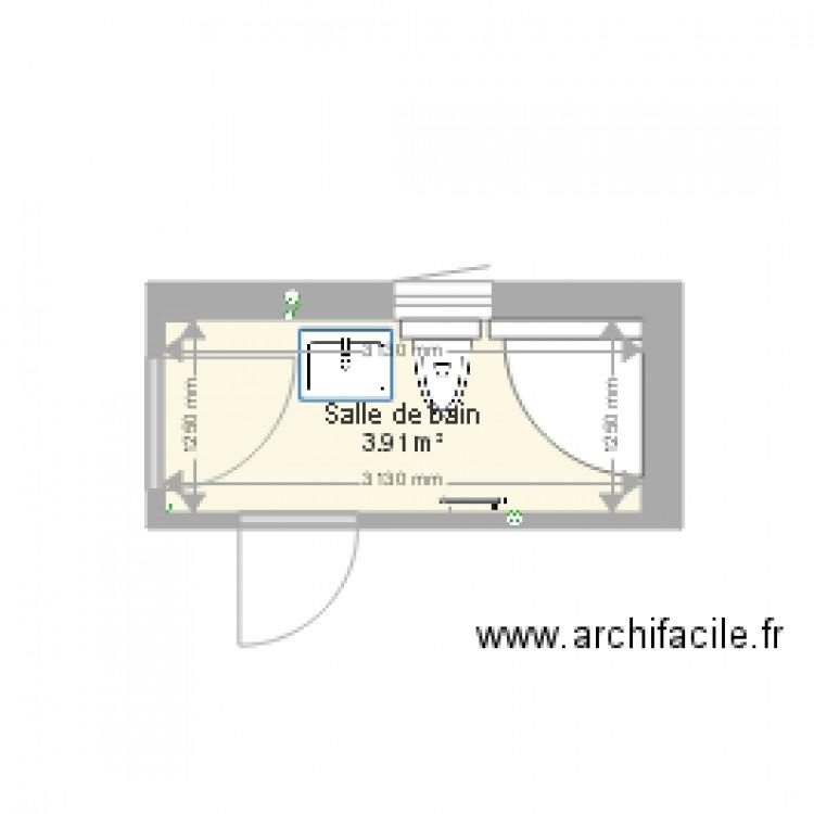 Salle de bain plan 1 pi ce 4 m2 dessin par dbranly for Salle de bain 4 m2