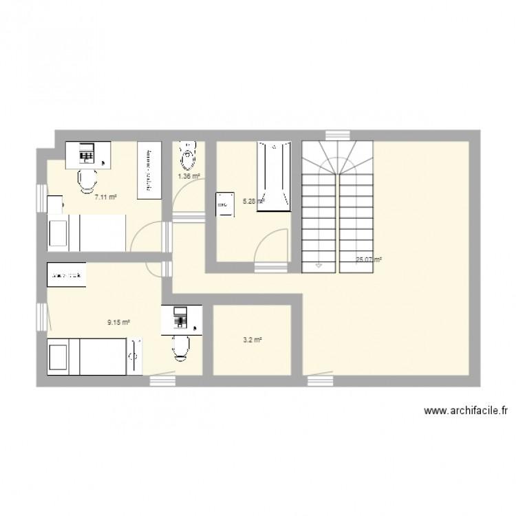 Maison plan 6 pi ces 51 m2 dessin par malron - Dessiner plan maison en ligne ...