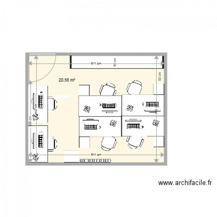 Bureau etudiants plan 1 pi ce 21 m2 dessin par chrisedwin59 for Nombre de m2 par personne bureau