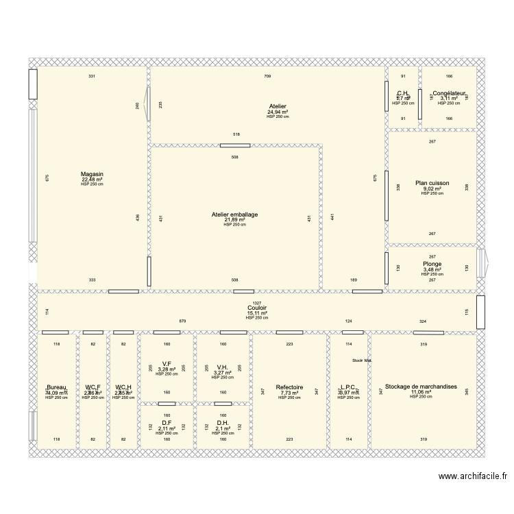 plan batiment et mat riel de chocolaterie plan 17 pi ces 119 m2 dessin par bono79. Black Bedroom Furniture Sets. Home Design Ideas