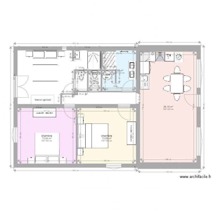 maison l on plan 5 pi ces 60 m2 dessin par yocolliat. Black Bedroom Furniture Sets. Home Design Ideas