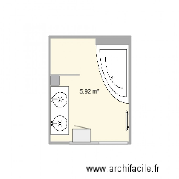 salle de bain plan 2 pi ces 6 m2 dessin par greg47200. Black Bedroom Furniture Sets. Home Design Ideas