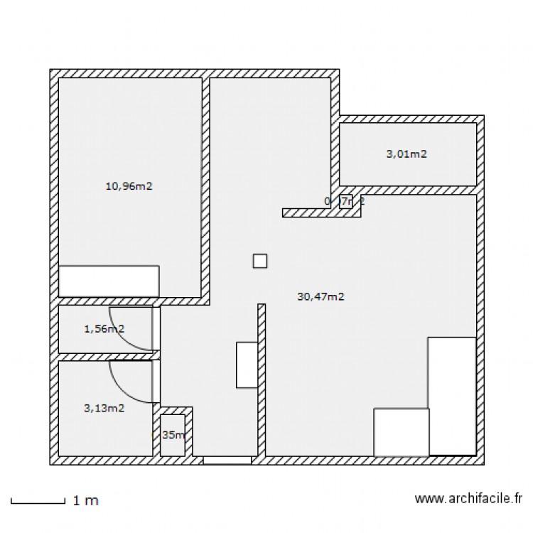 Appartement cuisine ouverte plan 7 pi ces 50 m2 dessin for Plan cuisine ouverte 11m2