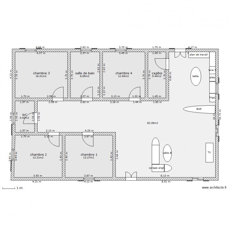 Plan Maison 4 Chambres Plan 8 Pieces 156 M2 Dessine Par Ptitdemon37