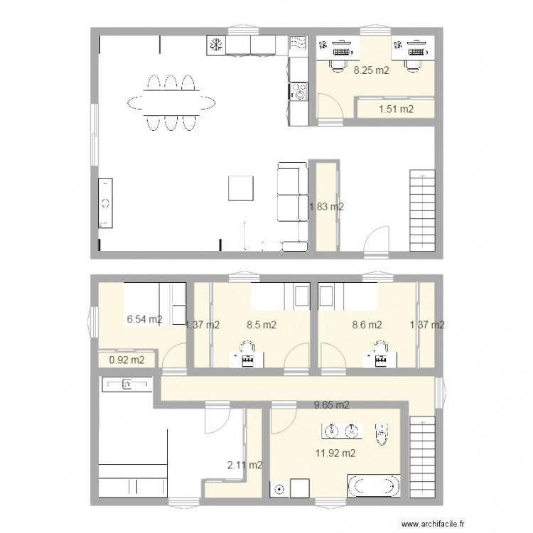 Maison etage plan plan maison cubique a etage plan - Plan maison a etage 4 chambres ...