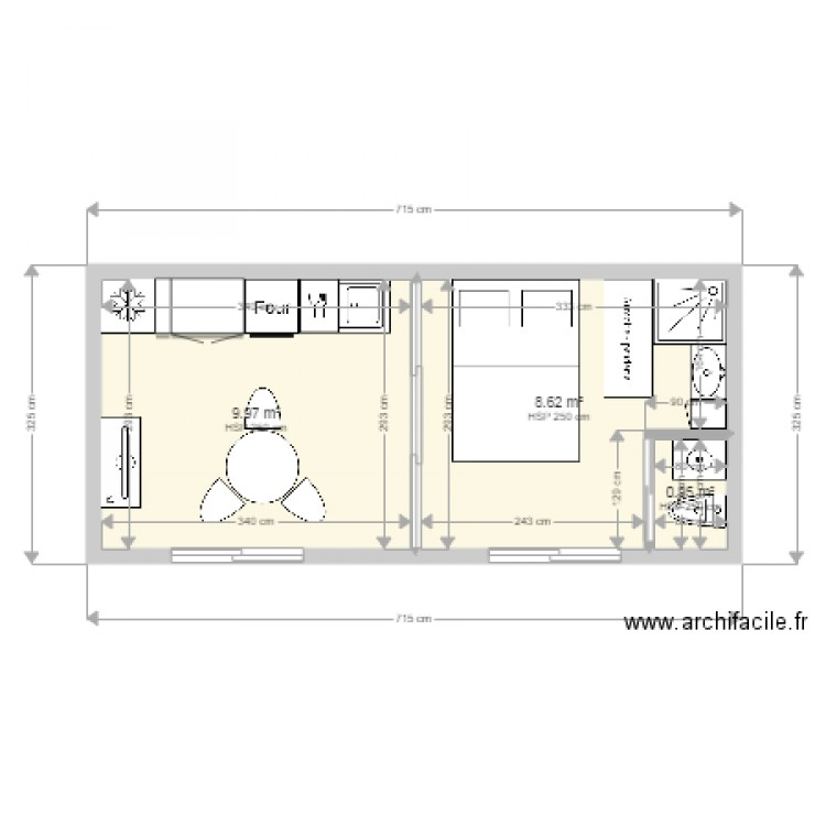 studio 20m2 plan 3 pi ces 20 m2 dessin par donbob. Black Bedroom Furniture Sets. Home Design Ideas