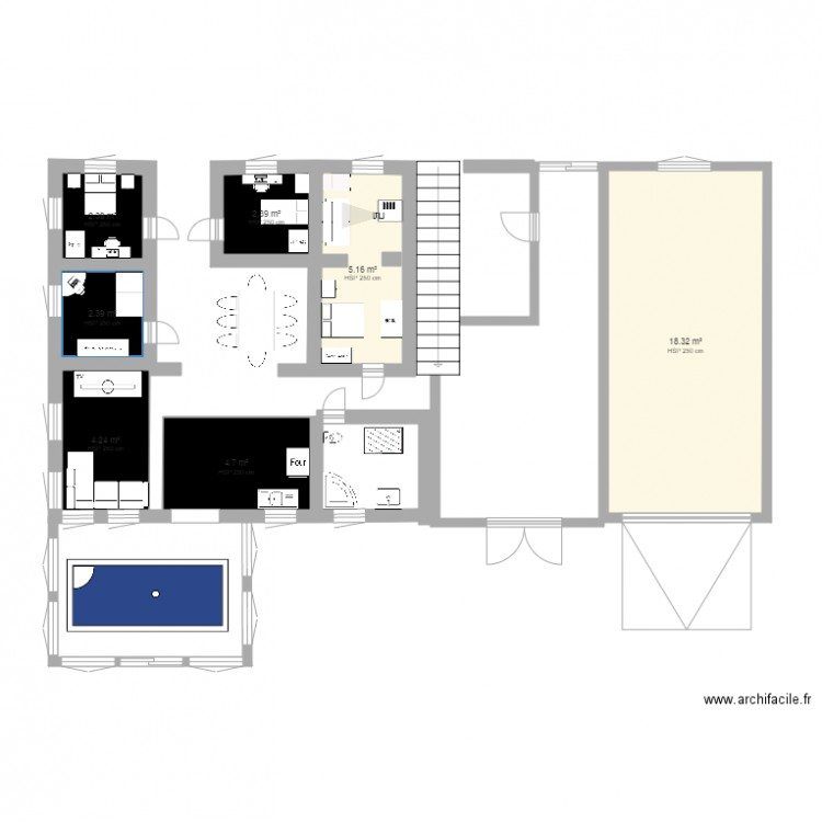 ma maison de campagne plan 7 pi ces 40 m2 dessin par kimouille1. Black Bedroom Furniture Sets. Home Design Ideas