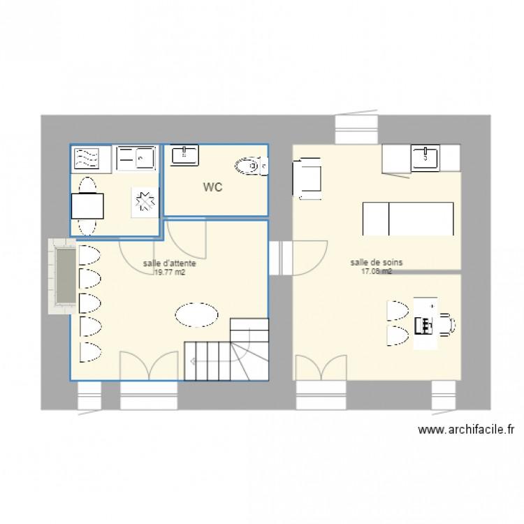 plan cabinet infirmier 1 plan 2 pi ces 37 m2 dessin par olidel24. Black Bedroom Furniture Sets. Home Design Ideas