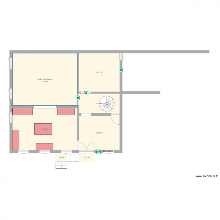 rez de chausse 1version mus e plan 7 pi ces 84 m2 dessin par hflow. Black Bedroom Furniture Sets. Home Design Ideas