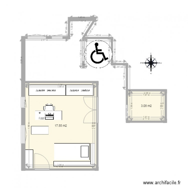 wc handicap plan 2 pi ces 21 m2 dessin par spielmann. Black Bedroom Furniture Sets. Home Design Ideas