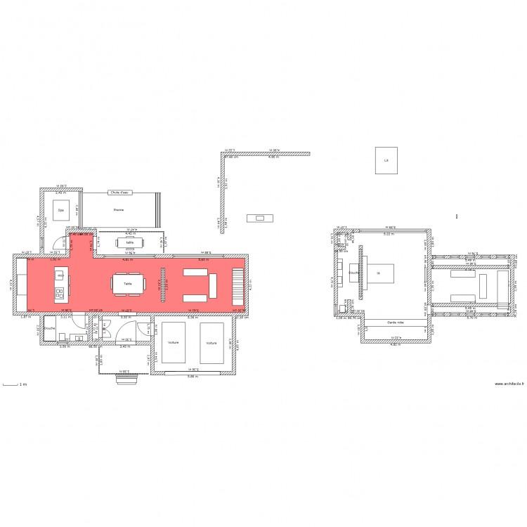 Maison contemporaine plan 2 pi ces 70 m2 dessin par for Plan petite maison 70 m2