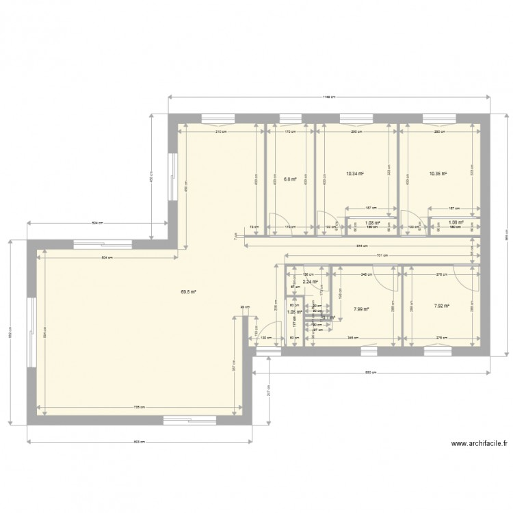 plan maison avec cotations plan 11 pices 118 m2 dessin par - Plan Maison 90m2 Plain Pied