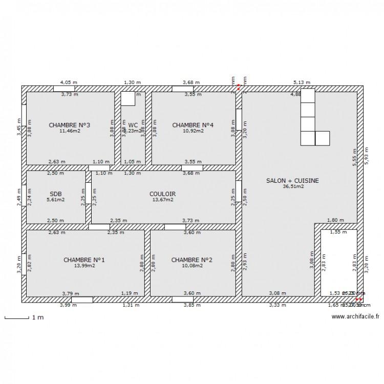 Célèbre maison 4 chambres 120 m2 - Plan 9 pièces 110 m2 dessiné par bella31 IJ18
