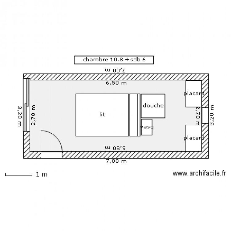 Chambre parentale v1 plan 1 pi ce 18 m2 dessin par taverne for Taille chambre parentale