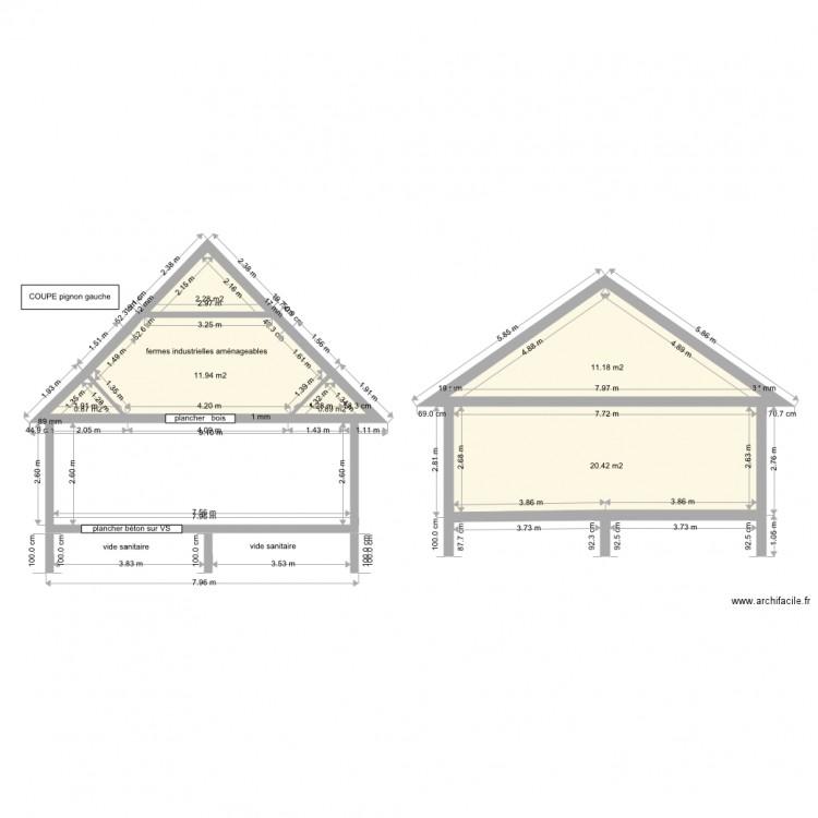 Coupe comble maison plan 7 pi ces 69 m2 dessin par cam16 for Taille moyenne maison