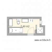Plan maison et appartement de 1 pi ce de 5 9 m2 - Plan sdb m ...