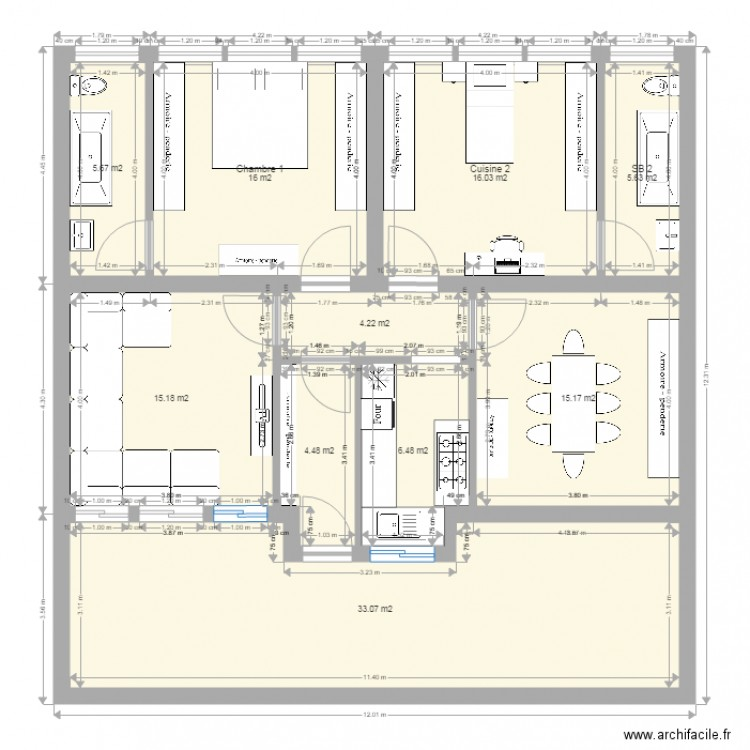 amenagement appartement niveau aa plan 10 pi ces 122 m2 dessin par khaled1972. Black Bedroom Furniture Sets. Home Design Ideas