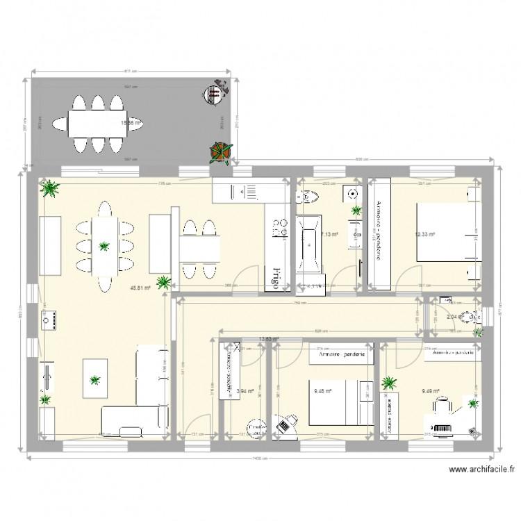 Maison mm plan 9 pi ces 120 m2 dessin par em57 - Plan appartement 120 m2 ...