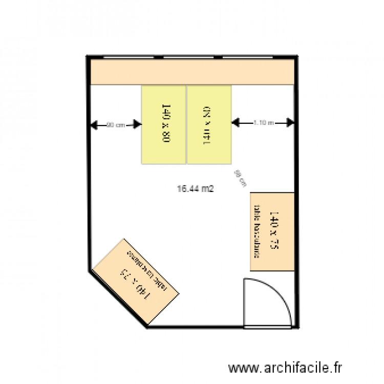 Bureau 302 plan 1 pi ce 16 m2 dessin par bruno gt for Nombre de m2 par personne bureau