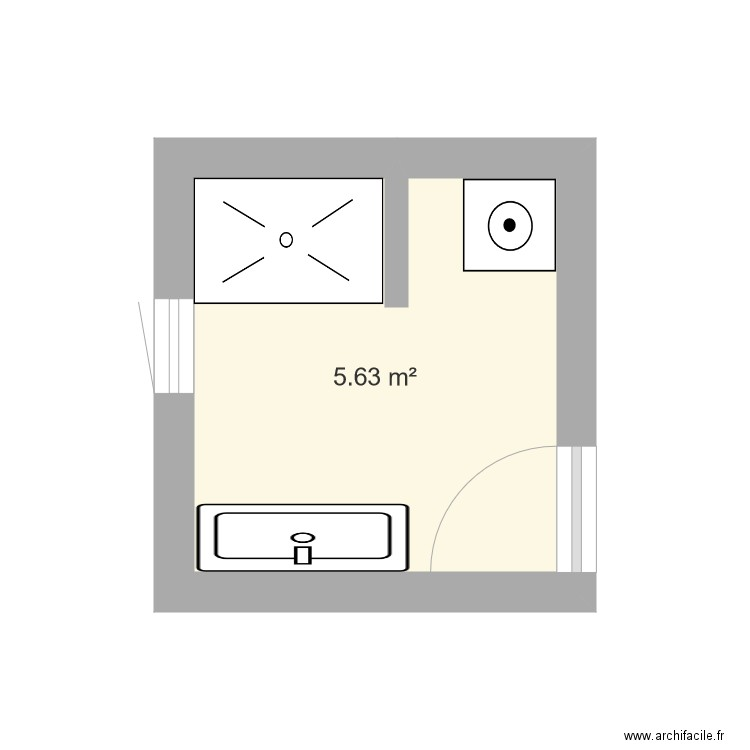 salle de bain 2 plan 1 pi ce 6 m2 dessin par ulysse97. Black Bedroom Furniture Sets. Home Design Ideas