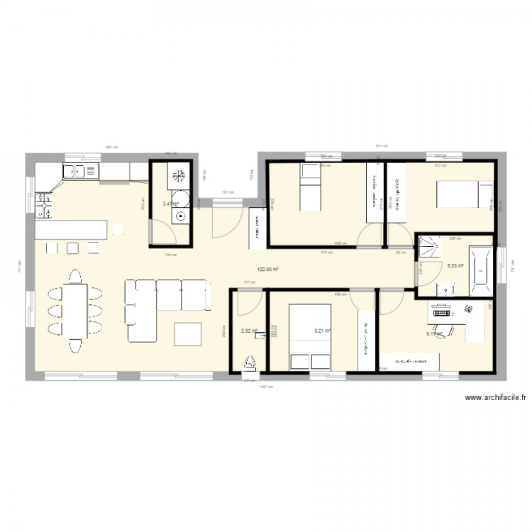 Maison 100m2 plan plan etage maison maison bbc 2 plan for Plan maison a etage 100m2