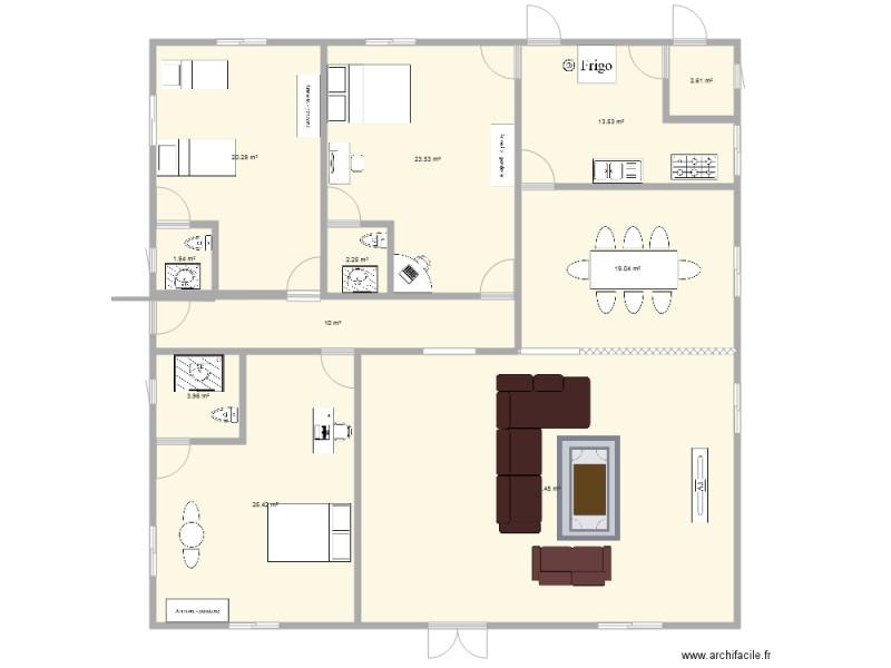 Plan De 3 Chambres Salon Avec Salle A Manger Et Cuisine Plan 11 Pieces 179 M2 Dessine Par Ben1991