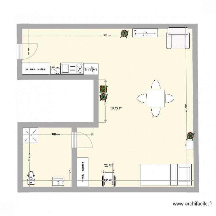 plan appartement plan 1 pi ce 59 m2 dessin par lina954. Black Bedroom Furniture Sets. Home Design Ideas