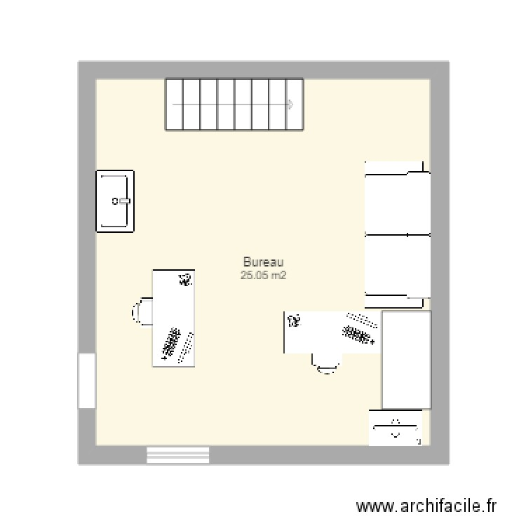 plan am nagement bureau plan 1 pi ce 25 m2 dessin par archifacile0610. Black Bedroom Furniture Sets. Home Design Ideas
