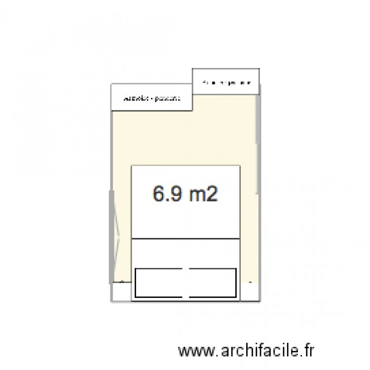 Chambre plan 1 pi ce 7 m2 dessin par mdelforg for Chambre one piece