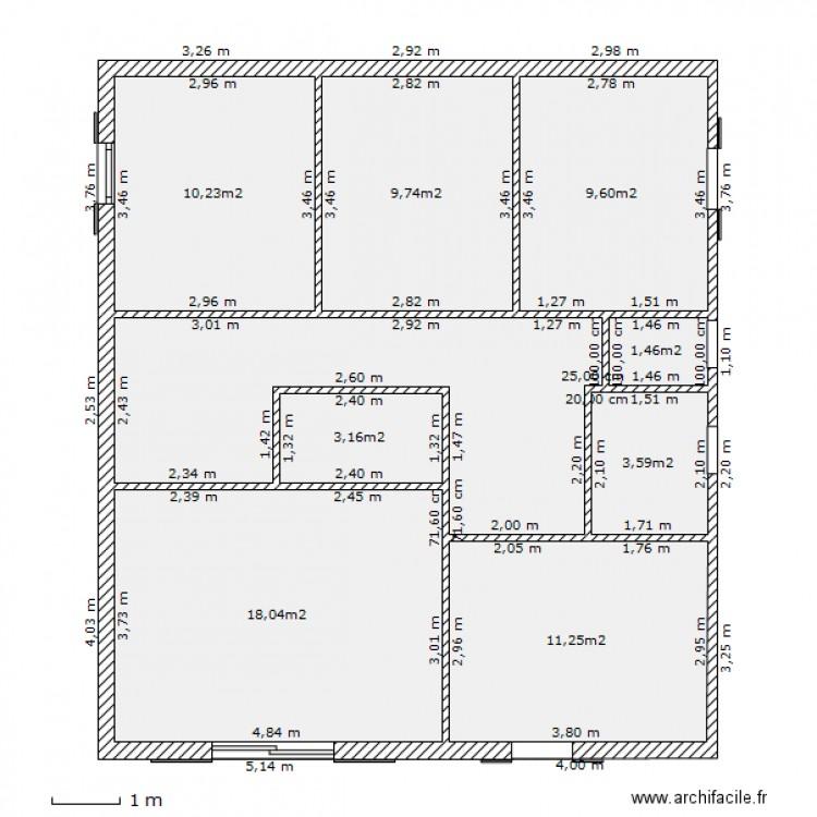 Maison 1er tage avec cotes plan 9 pi ces 82 m2 dessin for Plan maison avec cote