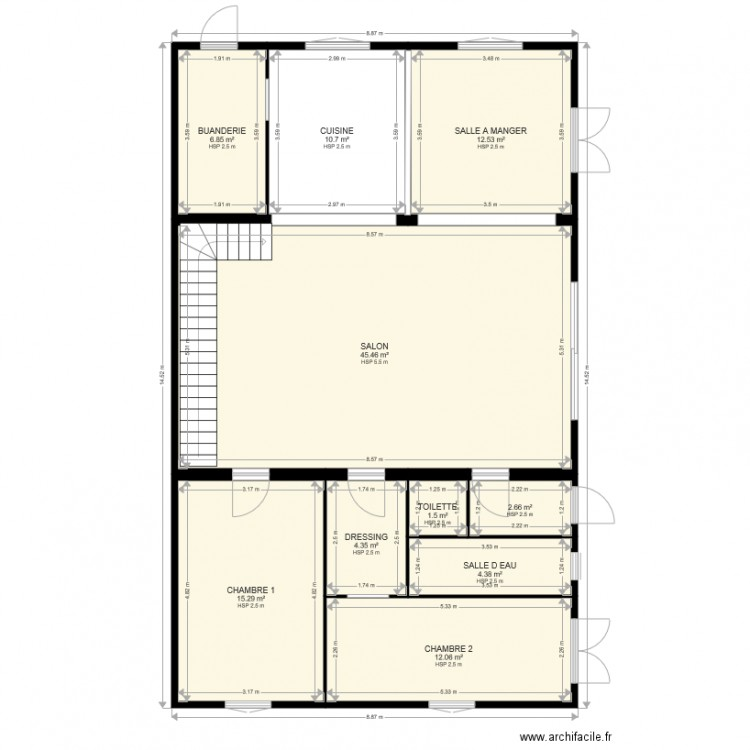 renovation grange nohic plan 10 pi ces 116 m2 dessin par guitou82370. Black Bedroom Furniture Sets. Home Design Ideas