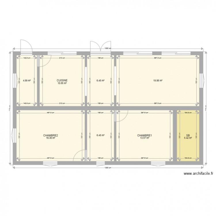 Maison plan 8 pi ces 84 m2 dessin par lorenzijo for Plan petite maison 70 m2