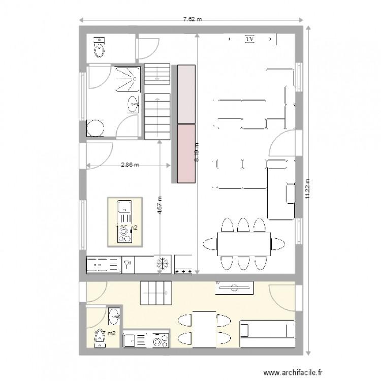 Maison principale studio 1 avec cotation plan 4 pi ces for Plan maison avec cotation